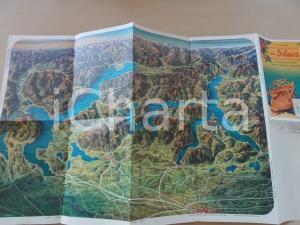 1950 ca Escursioni ai tre laghi MAGGIORE - LUGANO - COMO Mappa 60x33 cm