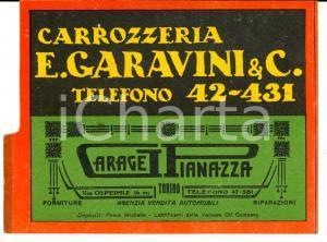 1930 ca TORINO Carrozzeria GARAVINI  - Garage PIANAZZA *Cartoncino pubblicitario