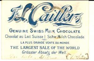 1950 ca F. L. CAILLER Swiss milk chocolate *Cartoncino pubblicitario 10x6 cm