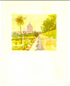 1961 Navigazione ADRIATICA Motonave AUSONIA Menù - Stampa ROMA Giardini Vaticani