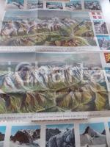 1950 ca MONTE BIANCO Carta panoramica vista dalla valle di COURMAYEUR 70x60 cm