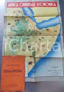 1936 Luigi PADOAN Carta economica Africa Orientale *IL MONDO GEOGRAFICO 50x70