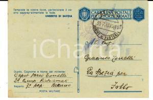 1943 ZONA DI GUERRA Capitano 7° Reggimento ALPINI Mario TONELLI alla famiglia