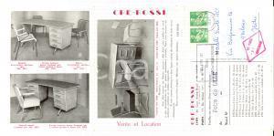 1961 LYON Mobili da ufficio CRE-ROSSI Biglietto pubblicitario ILLUSTRATO