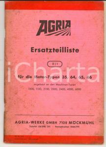 1972 MOCKMUHL - AGRIA Ersatzteilliste Typen 35 - 64 - 65 - 66 Manuale ILLUSTRATO
