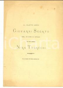 1880 PIEVE DI CADORE Antonio RONZON Sonetto nozze Antonio SEGATO - Nina TABACCHI