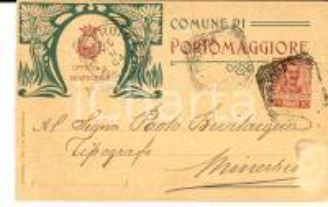 1904 PORTOMAGGIORE (FE) Cartolina UFFICIO DI SEGRETERIA al tipografo BEVILACQUA