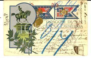 1905 DRAGONI GENOVA CAVALLERIA Cartolina capitano Paolo MALFATTI FP VG