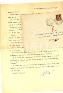 1946 GOSSOLENGO Lettera tenente Giacomo GALBIATI  per libro ricevuto