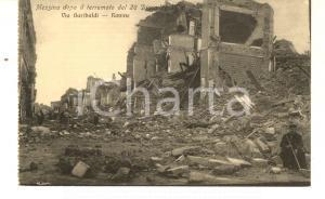 1908 MESSINA TERREMOTO Rovine di via Garibaldi *Cartolina postale ANIMATA FP