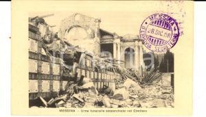 1908 MESSINA TERREMOTO Urne scoperchiate nel cimitero *Cartolina postale FP NV