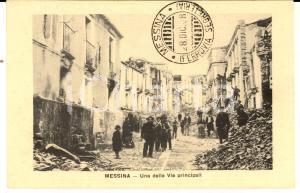 1908 MESSINA TERREMOTO Una delle vie principali *Cartolina ANIMATA FP NV
