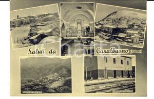 1961 CASALBUONO Vedutine con palazzo FALCI e stazione *Cartolina DANNEGGIATA