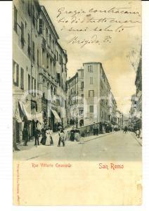 1900 ca SANREMO (IM) Via Vittorio Emanuele *Cartolina ANIMATA FP VG