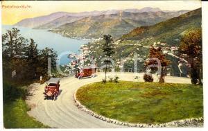 1910 PORTOFINO (GE) Veduta dall'alto con tornanti *Cartolina ANIMATA auto FP