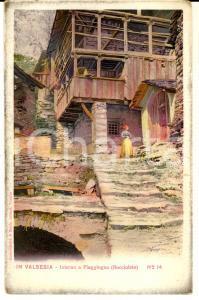 1915 ca PIAGGIOGNA (VC) Abitazione con donna in costume della VALSESIA Cartolina