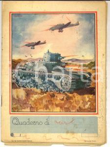 1940 ca Quaderno 2^ ELEMENTARE Pierluigi RONZON - Guanti persi durante l'allarme