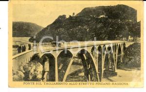 1933 PINZANO AL TAGLIAMENTO (PN) Ponte sul fiume *Cartolina ANIMATA DANNEGGIATA