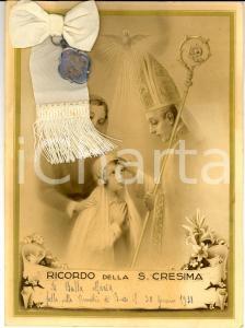 1938 BRESSO (MI) Ricordo della Cresima di Maria BULLA *Attestato con medaglia