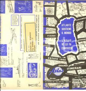 1960 MILANO TURISMO Agenzia viaggi ATLAS pieghevole ILLUSTRATO Itinerari estate