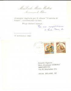 1982 MILANO Biglietto ringraziamento arcivescovo Carlo Maria MARTINI *Autografo