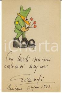 1942 MILANO GIANFI I fiori del soldato *Biglietto ILLUSTRATO A MANO 10x15 cm