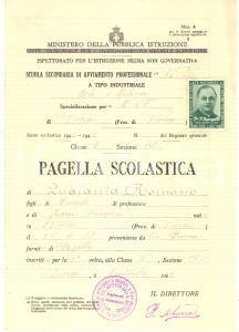 1945 TORINO Scuola avviamento arti e mestieri - Pagella Romano QUARANTA