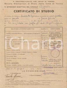 1942 TORINO Scuola elementare circolo RIGNON *Certificato studio Romano QUARANTA