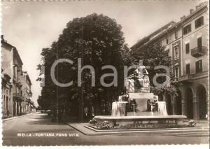 1947 BIELLA Panorama con Fontana FONS VITAE *Cartolina FG VG