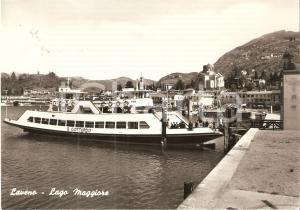 1960 LAVENO MOMBELLO (VA) Passeggerri sul Battello SAN GOTTARDO *Cartolina FG VG