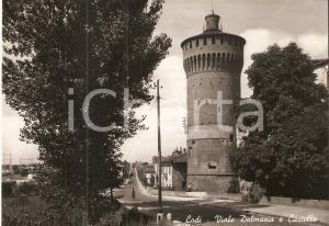 1955 ca LODI Bicicletta in Viale Dalmazia e scorcio del Castello Cartolina FG NV