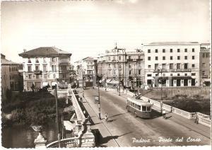 1952 PADOVA Tram e biciclette sul Ponte del Corso *Cartolina FG VG