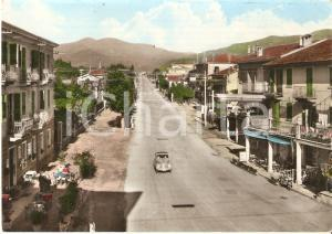 1950 ca BORGO SAN DALMAZZO (CN) Auto in Corso Mazzini *Cartolina FG VG