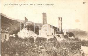 1904 PONT CANAVESE (TO) Antiche torri e chiesa SAN COSTANZO *Cartolina FP VG