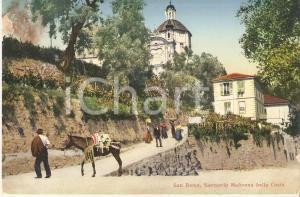 1913 SANREMO Famiglia a cavallo al Santuario MADONNA DELLA COSTA Cartolina FP VG