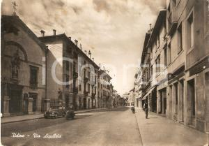 1955 UDINE Moto Servizio B in Via Aquileia *Cartolina DANNEGGIATA FG VG