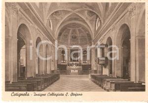 1939 COTIGNOLA (RA) Insigne Collegiata SANTO STEFANO Interno *Cartolina FG VG