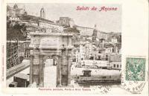 1904 ANCONA Panorama con porto e ARCO TRAIANO *Cartolina FP VG