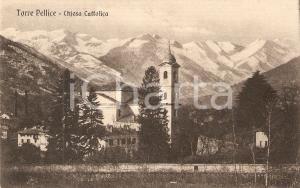 1925 TORRE PELLICE (TO) Panorama con la chiesa cattolica *Cartolina FP NV