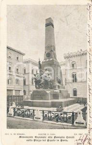 1900 PAVIA Monumento alla Famiglia CAIROLI in PIazza del Popolo *Cartolina FP VG