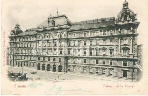 1905 ca TRIESTE Carretto davanti al Palazzo della Posta *Cartolina FP VG