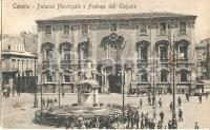 1923 CATANIA Fontana dell'elefante e Palazzo Municipale *Cartolina FP VG