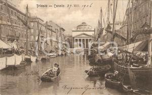 1900 ca TRIESTE Pescatori rientrano nel Canale *Cartolina FP VG