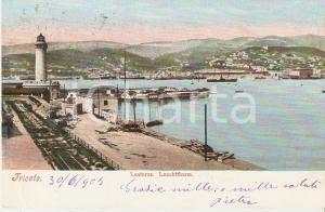 1905 TRIESTE Panorama del porto con la Lanterna *Cartolina FP VG