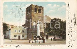 1903 TRIESTE Bambini in posa davanti al Duomo di SAN GIUSTO *Cartolina FP VG