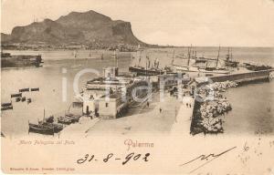 1902 PALERMO Veduta del porto con MONTE PELLEGRINO *Cartolina FP VG