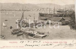 1903 PALERMO Il porto con veduta della città *Cartolina FP VG