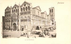 1905 ca FERRARA Bancarelle di fianco alla Cattedrale *Cartolina FP VG