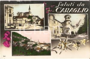 1940 CARAGLIO (CN) Vedutine con filatoio e Via Dronero *Cartolina FP VG