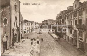 1934 SALUZZO (CN) Fedeli sul sagrato della Cattedrale *Cartolina FP VG